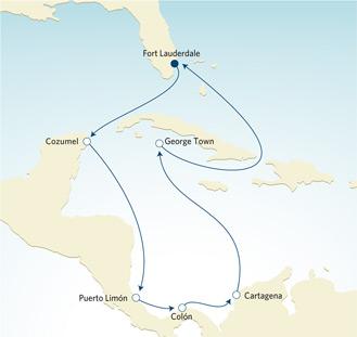 Karta Kryssning i Centralamerika
