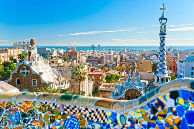 Parc Guell i Barcelona, Spanien.