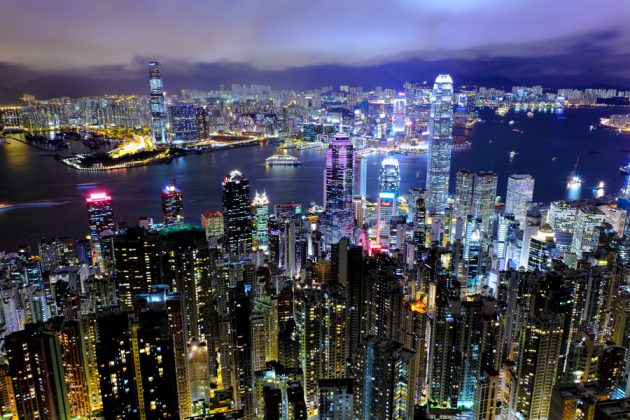 Nattvy över Hongkong.
