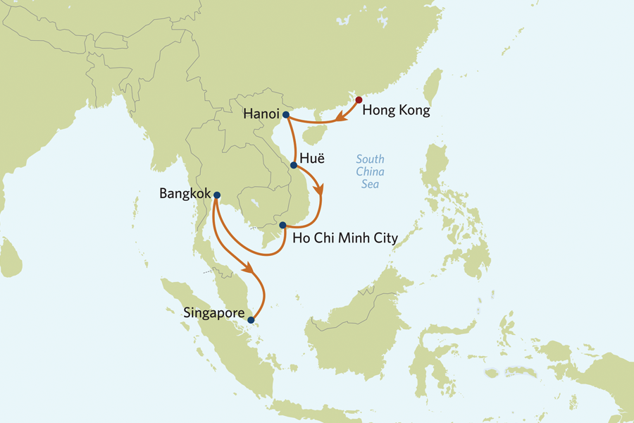 Karta Centrala Thailand.Kryssning Asien Hongkong Vietnam Bangkok Singapore 2020