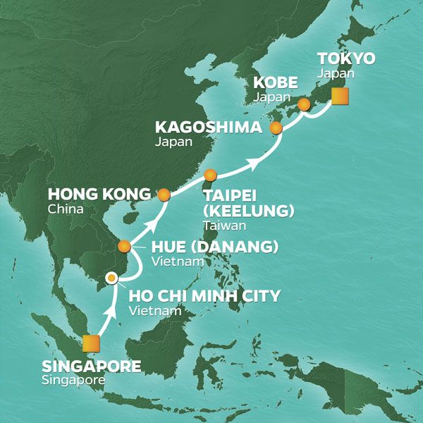 Karta Azamara Asien Singapore - Japan 2021