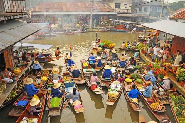 Amphawa-flytande marknad – Bangkok Thailand