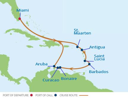 Karta kryssning Karibien Celebrity Eclipse