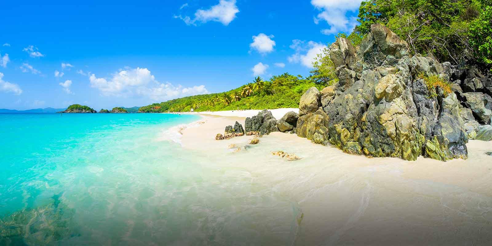 Vit strand i Karibien