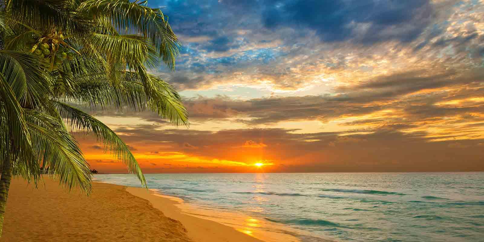 Soluppgång strand i Karibien