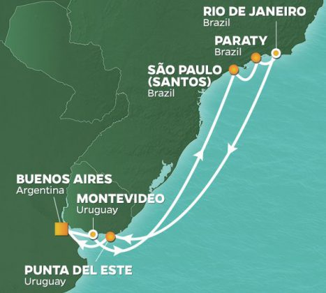 Karta Azamara Sydamerika