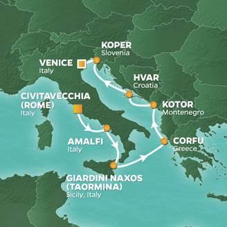 karta amalfikusten Kryssningar södra Europa med Azamara Quest karta amalfikusten