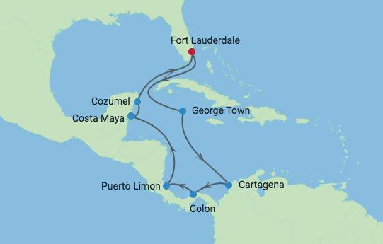 Karta Karibien Centralamerika