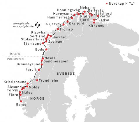 Karta Hurtigruten Kryssning