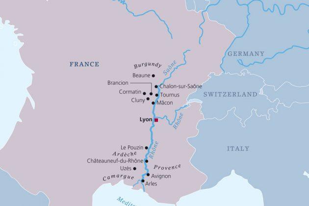 Rhone flodkryssning karta