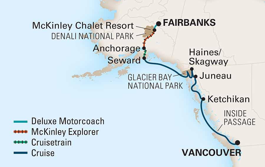 Karta Alaska Holland amerca