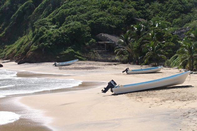 Strand i frodiga omgivningar i Huatalco, Mexiko.