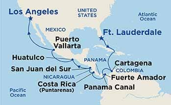 Karta över Princess Cruises rutt genom Panamakanalen