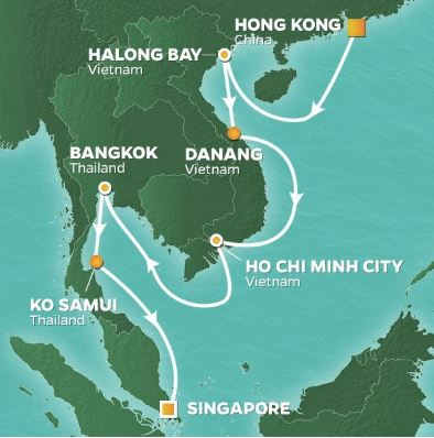 Karta Centrala Thailand.Kryssning Asien Hongkong Vietnam Bangkok Singapore 2019