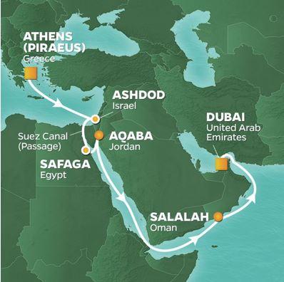 Kryssning Karta Suezkanalen
