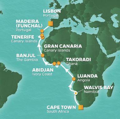 Karta Azamara Journey Västafrika