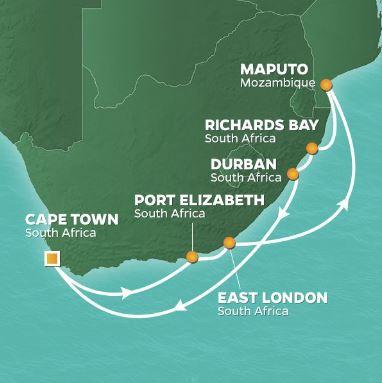 Karta kryssning Sydafrika Azamara