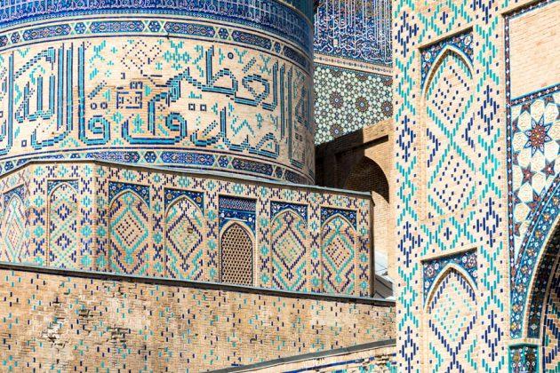 Blå mosaik i Bibi Khanym Mosque i Samarkand, Uzbekistan
